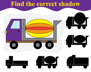 Find the shadow of cement mixer. Educational game for children.