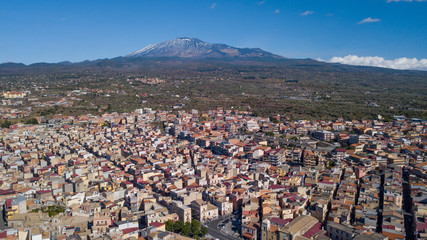 The Voulcano Mount Etna with town below it - landscape photo