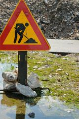 "Outdoor street sign - ""Under construction"""