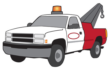 A cartoon tow truck with emergency flashing light and large hook
