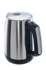 stainless steel kettle on white background