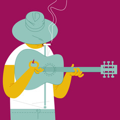 BLUESMAN. GUITAR AND CIGARETTE,