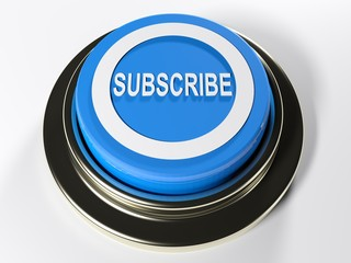 Subscribe blue push button - 3D rendering