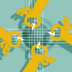 FOUR HANDS GUITAR. Classical guitar.