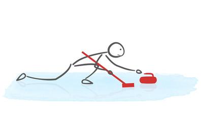 Illustration minimaliste d'un joueur de curling