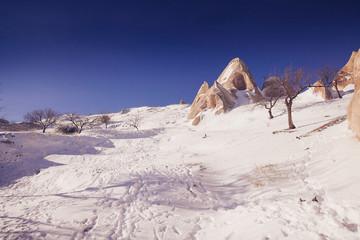 View of Valley in winter season, Cappadocia national park, Turkey