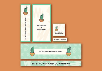 Web Banner Layout Set with Cactus Elements