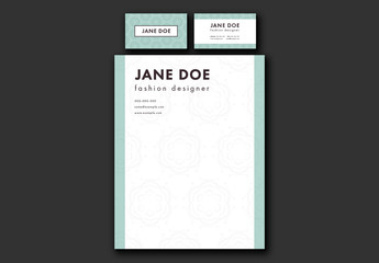 Business Collateral with Repeating Flower Elements