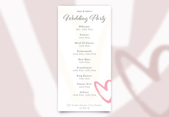Wedding Program with Heart Elements