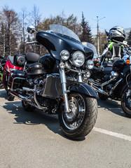 motorcycles on parking on asphalt