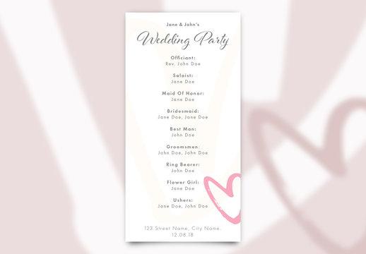 Wedding Program with Heart Elements