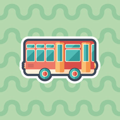 Toy retro bus sticker flat icon with color background.