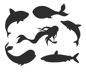 Set of vector underwater life silhouettes with mermaid, whales, shark, narwhal and dolphin. Sea creatures shapes isolated on the white background.
