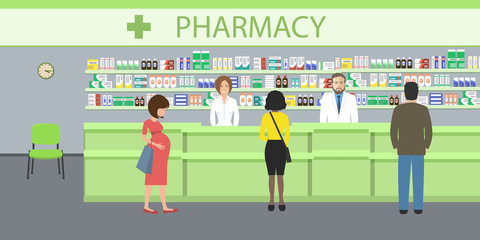 People in the pharmacy. Pharmacists man and woman stands near the shelves with medicines. In the green hall there are visitors. Vector illustration.