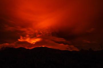 Foto op Canvas Rood traf. Volcano eruption landscape at night - Mount Etna in Sicily