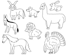 Set of Farm animals and birds icons vector illustration sketch