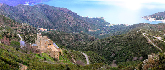 View of the Monastery of Sant Pere de Rodes in Catalonia - Spain