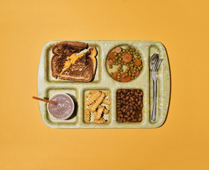 School Lunch: Grilled Toasted Cheese Sandwich with Mixed Vegetables French Fries Baked Beans