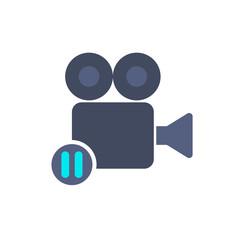 Cam camera film movie pause record icon