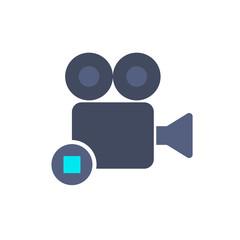 Cam camera film movie record stop icon