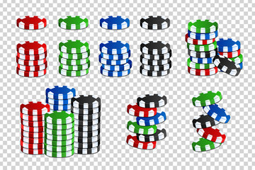 Vector set of realistic isolated casino chips for decoration and covering on the transparent background. Concept of gambling, poker and game of chance.