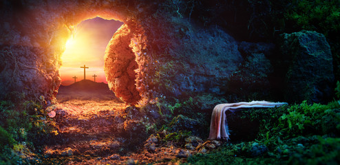 Crucifixion At Sunrise - Empty Tomb With Shroud - Resurrection Of Jesus Christ