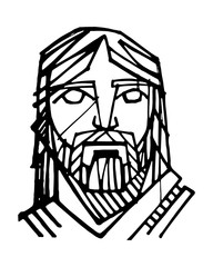Jesus Christ Face ink illustration