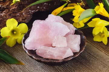 Ceramic Bowl of Rough Rose Quartz