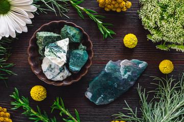 Tree Agate and Moss Agate with Mixed Botanicals