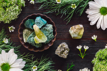 Green Aventurine, Green Calcite and Pyrite with Mixed Botanicals