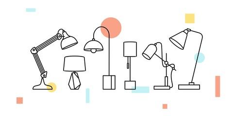 desk table lamp vector illustration icon outline line art decor interior
