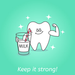 Cartoon tooth with a glass of milk. Dental care and hygiene icon. Good food for your teeth. Dental illustration for kids. Keep it strong!