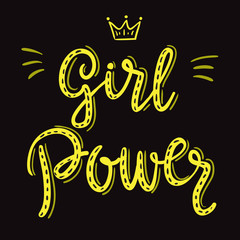 Girl power slogan hand drawn yellow lettering with crown on black background. Vector illustration for t shirt, poster etc