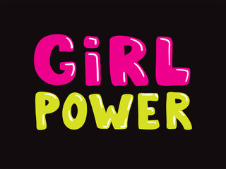 Girl power slogan hand drawn pink and yellow lettering on black background. Vector illustration for t shirt, poster etc