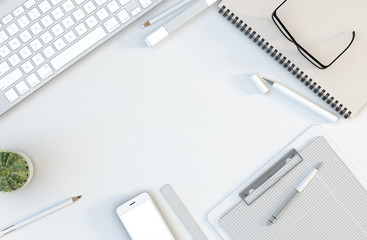 Office workspace with computer keyboard, stationery set and smartphone on desk. Top view. Flat lay. 3D illustration
