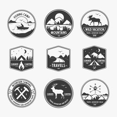Vector set logo for travel and vacation on white background