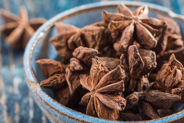 Star Anise in a Blue Pottery Bowl