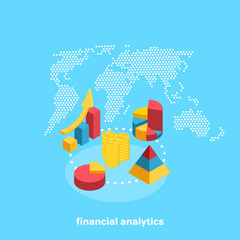 financial charts on the background of the world map, isometric image