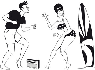 Wall Mural - Young couple dressed in 1960s beach fashion dancing the Twist listening to a transistor radio, EPS 8 black vector silhouette, no white objects