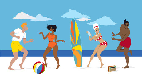 Wall Mural - Group of young people in early 1960s swimsuits dancing the Twist on the beach, EPS 8 vector illustration