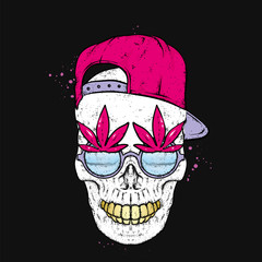A stylish skull with glasses and cap. A print on clothes or an illustration for a postcard and a poster. Vector drawing.