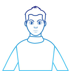 degraded line profile man with hairstyle design and shirt