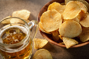 potato chips and beer mug