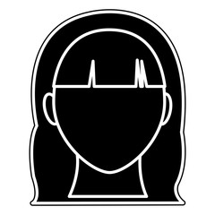 silhouette user woman head with hairstyle and faceless