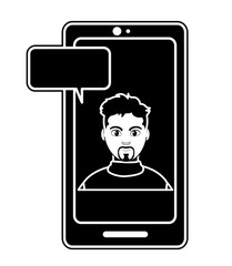 silhouette elegant man inside smartphone with chat bubble