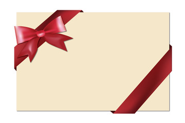 Blank gift card with red ribbon and bow isolated on white vector illustration