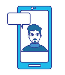 color elegant man inside smartphone with chat bubble