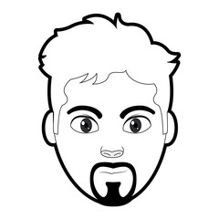outline avatar man head with facial expression