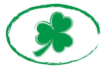 Green Grunge Painted Shamrock Clover
