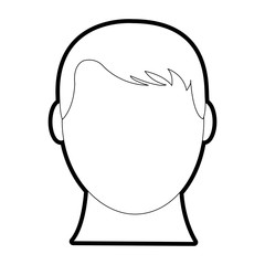 outline avatar man head with default face and hairstyle